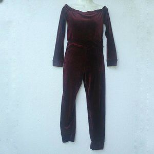 A'GACI Jordyn Velvet Jumpsuit Woman Size L Wine